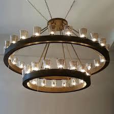 modern glass chandelier led lighting pendant lamp with brushed bronze metal rod