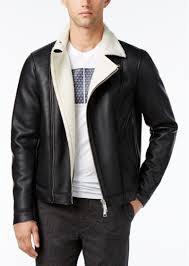 armani exchange men s faux leather blouson zip jacket with sherpa lining