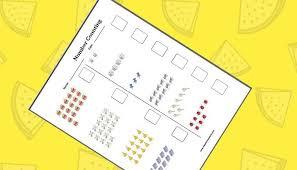 Counting worksheet for kindergarten - classroom school