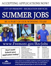 city recreation temporary jobs city of fremont official website flyer summer jobs no bleed