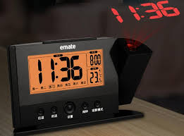 projection alarm clock projecting to wall ceiling display weekday temperature orange backlight clocks modern time watch