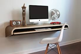 minimal float wall desk by orange22 showing side view of the desk