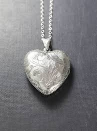 large sterling silver heart locket necklace scroll engraved double side photo pendant design vintage love charm