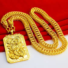 thousand shadow jewelry gold dragon necklace men s faucet tank chain boss chain big square pendant tag simulation jewelry commonly known as gold gold plated