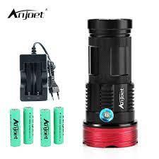 ANJOET đèn LED 20000 lumens mạnh đèn Pin Vua 9/10/11 * XM L T6 Chiến Thuật  Săn Bắn Đèn Pin cho 18650 pin + sạc|