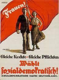 women s rights 1919 election poster german social democrats frauen gleiche rechte gleiche pflichten women the same rights the same duties