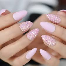 Light Pink Nails With Rhinestones Us 3 65 17 Off Pudding Almond Nails Medium Light Pink Color Nails Rhinestones Decoration Press On Nails Jelly Crystal Pre Designed In False Nails