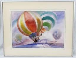 1982 Rowena Smith 15x21 Hot Air Balloon Watercolor Vintage Landscape  Colorful | eBay
