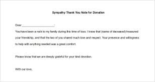Thank You Note Template Donation Sympathy Splendid Details Format ...