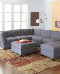 Solid Wood Living Room Furniture Sets Contemporary Grey Sectional Sofa Chaise Tufted Back Cushion Three