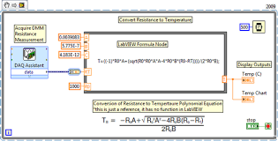 measure temperature using a rtd mydaq and labview national figure 6 labview 2009 block diagram