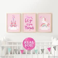 set of rainbow new unicorn wall decor