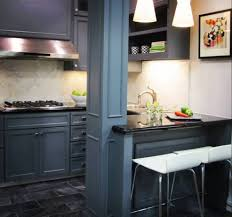 ... Small Bar Design Ideas : Best Small Kitchen Design With Grey Cabinetry  Using Black Granite Countertop ...