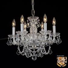 weinstock illuminations 18 in 6 light hand polished brass crystal crystal candle chandelier