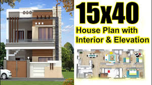 15 X 40 House Design 15x40 House Plan With Interior Elevation