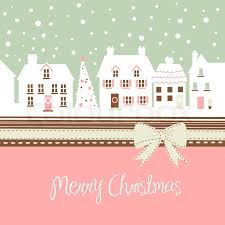 Pink Christmas Card Christmas Card Cute Town At Christmas Stock Vector Colourbox