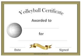 Formal Certificates Volleyball Certificate Template Formal Volleyball Certificate In