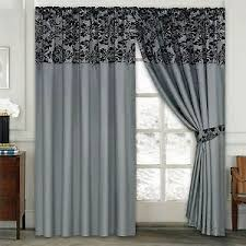 Black living room curtains Curtains Designs Image Is Loading Damaskhalfflockpairofbedroomcurtainliving Ebay Damask Half Flock Pair Of Bedroom Curtain Living Room Curtain Silver
