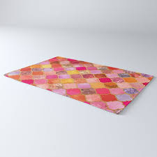 hot pink gold tangerine taupe decorative moroccan tile pattern rug