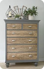 dresser makeover natural wooden drawers with upcycled grey painted outer frame chasingbeads