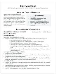 Resume Office Assistant Medical Job Description For With No