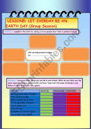 Group Session Let Every Day Be An Earth Day Esl Worksheet