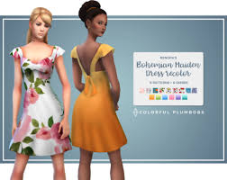 "colorfulplumbobs: "" Starting a new adventure with this simblr! This is a  recolor of @renorasims' Bohemian Maiden dress. It… 