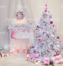 Christmas Tree Interior, Xmas Fireplace, Pink White Decorated Indoor  royalty-free stock photo