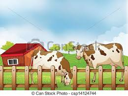farm fence drawing. A Farm With Two Cows Inside The Fence - Csp14124744 Drawing