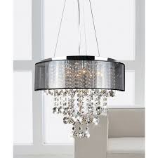 black chandelier elegant visalia chrome and translucent black shade light crystal module 27