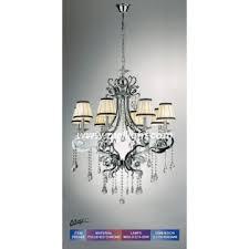 white fabric shade chrome iron crystal chandelier lighting