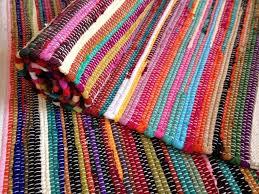 plain multi coloured chindi rag rug finished edge
