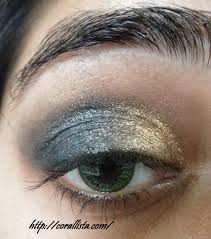 gold and blue festive eye makeup step by step tutorial