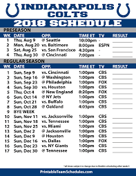 Indianapolis Colts 2018 Printable Schedule