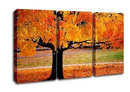 landscape 3 panel orange autumn tree canvas art
