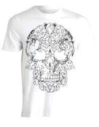 Lace Skull Biker Illustration Print Mens Tee Shirt Top Ah42 Mens 2018 Fashion Brand T Shirt O Neck 100cotton