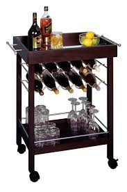 B Dark Espresso Bar Cart With Mirror Top Design For Home Mini