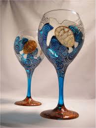 diy paint on wine glasses sea turtle wine glass coastal theme hand painted glassware