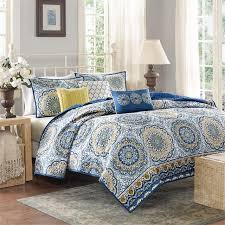 Amazon.com: Madison Park - Tangiers 6 Piece Coverlet Set - Blue ... & Amazon.com: Madison Park - Tangiers 6 Piece Coverlet Set - Blue - Cal King  - Medallion Pattern - Includes 1 Coverlet, 2 King Shams, 3 Decorative  Pillows: ... Adamdwight.com