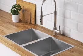 kitchen sink. Wonderful Sink White Double Bowl Farm Sink With Stainless Steel Color Single Lever Kitchen  Faucet And Kitchen Sink R