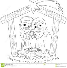 Christmas Nativity Scene Coloring Page Stock Vector Illustration