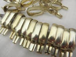 vintage curtain rings gold tone aluminum metal oval ring clips for cafe curtain rods