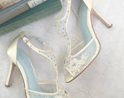 silk wedding shoes. t strap wedding shoes with beading and flower embroidery, mesh ivory silk bridal heels