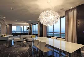 modern dining room chandelier over white rectangular dining table inexpensive contemporary dining room