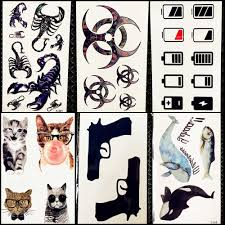 25 стилей мужские тату наклейки тотем скорпион черный пистолет