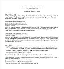 Pharmacist Assistant Resumes 8 Pharmacist Job Description Templates Free Sample Example