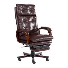 homcom high back pu leather executive reclining office chair with footrest brown