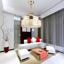 ceiling fans with lights for living room. Crystal Ceiling Light With Fan 42 Inch Invisible Blades LED 110-240V Fans Lights For Living Room