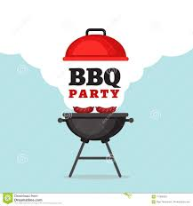 Bbq Poster Bbq Party Background With Grill And Fire Barbecue Poster Flat