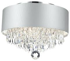flush mount crystal chandeliers also contemporary modern 3 light chrome crystal chandelier silver acrylic drum shade